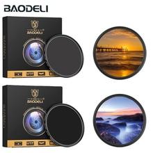 Baodeli filtro para câmera, nd 64 1000 49 52 55 58 62 67 72 77 82 mm para câmera canon m50 600d nikon d3200 d3500 d5100 d5600 sony a6000