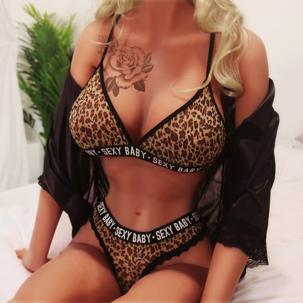 Sexy Lingerie Set For Women Bra & Brief Bikini Fashion Leopard Letter Sex Underwear Porn Babydoll Sleepwear Hot Erotic Sexy Baby