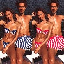 Couple swimwear lovers swimsuit push up bikini set two pieces man beach wear bathing suit summer shorts pants
