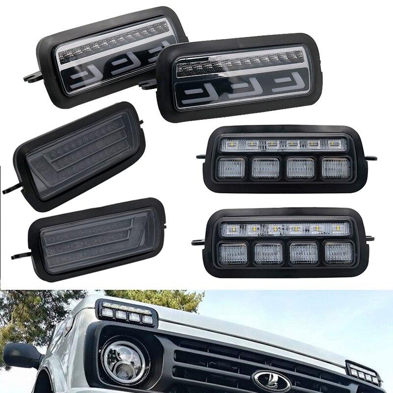 Светодиодные дневные ходовые огни для Lada Niva 4x4 1995, 2 шт., ходовой сигнал поворота, аксессуары для стайлинга автомобиля, лампа для тюнинга с DRL