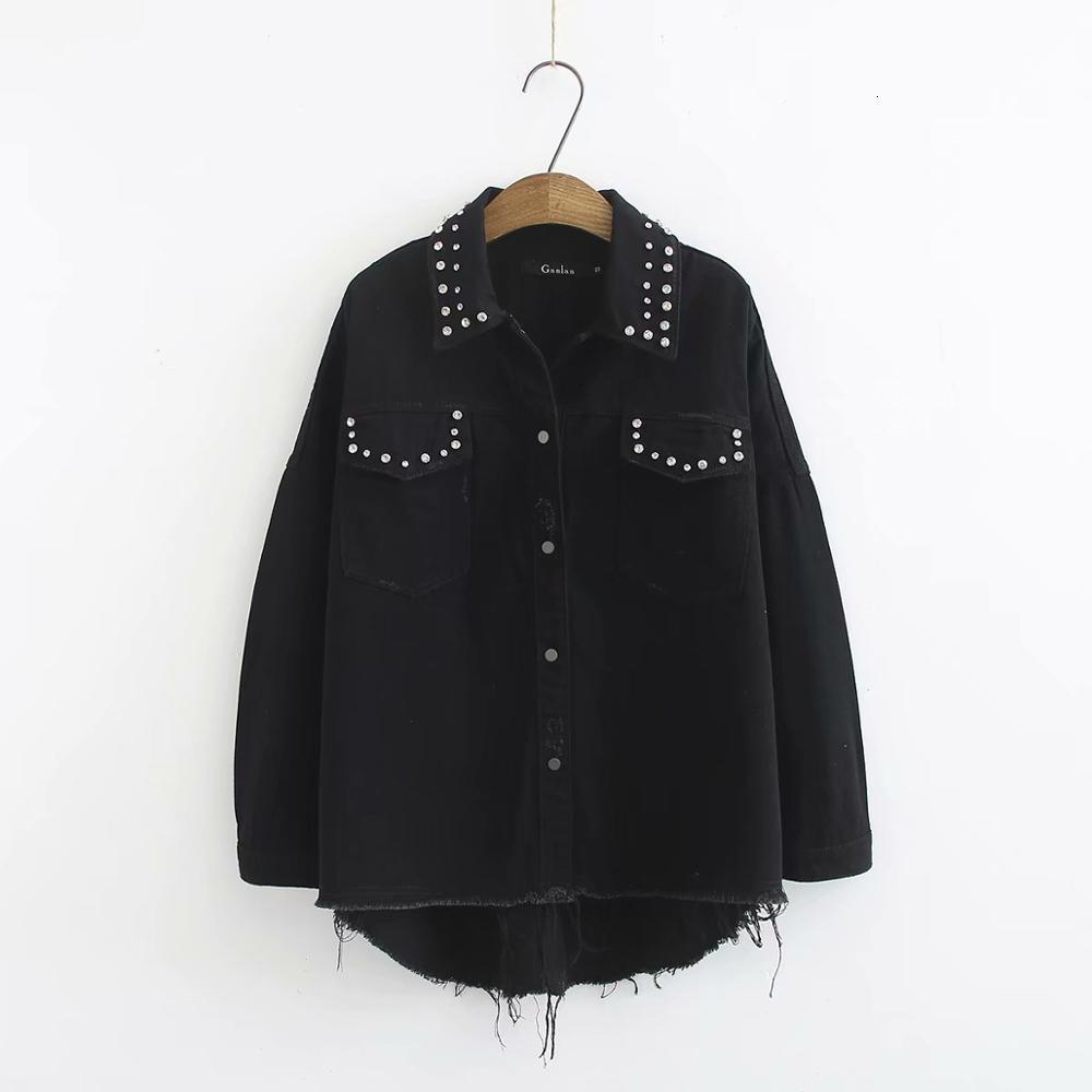 2019 Femmes décoration à la Mode Veste en jean noir dames chic effilé manches longues vêtements d'extérieur manteau tops de loisirs CT275