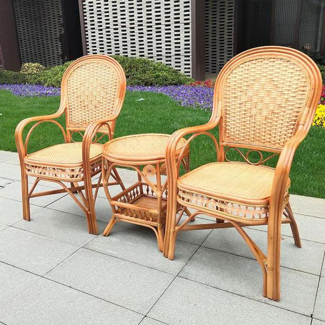 600 Rattan chair elderly chair high back outdoor leisure balcony office Mahjong chair Indonesia natural single real rattan chair 1