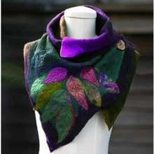 Шарф женский зимний винтажные шали с листьями Модный шарф уникальный