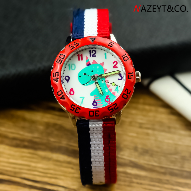 Free Shipping Boys Cute Cartoon Dinosaur Dial 3D Nylon Watch Little Children Girls Luminous Hands Quartz Wristwatch Kids Clock