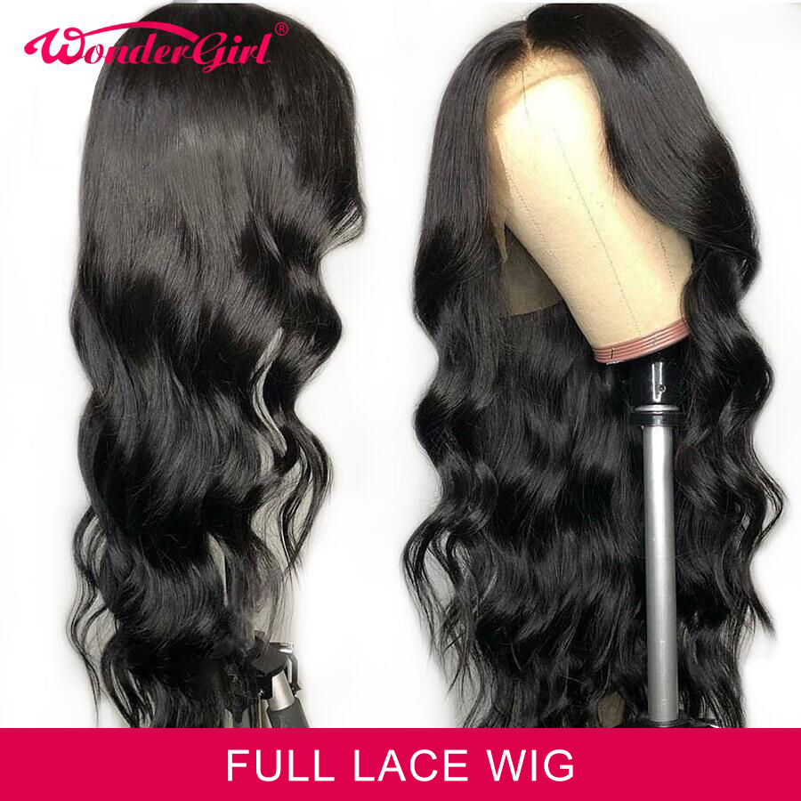 Wonder Girl Brazilian Body Wave Wig Remy Pre Plucked Full Lace Human Hair Wigs For Black Women Natural Hairline With Baby Hair