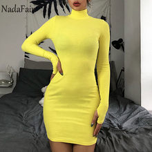Nadafair Long Sleeve Casual Solid Mini Winter Dress Women High Neck Party Club Neon Bodycon Dress Autumn(China)