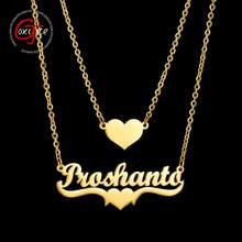 Goxijite nome coração 2 camada colar personalize aço inoxidável ouro doule camada primeiro nome pingente colares para amante mulher