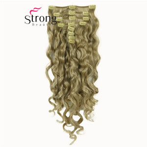 """Image 4 - StrongBeauty 20"""" Wavy Full Head Synthetic Heat Resistance Hair Extensions Clip on in Hairpieces 8pcs 260g"""