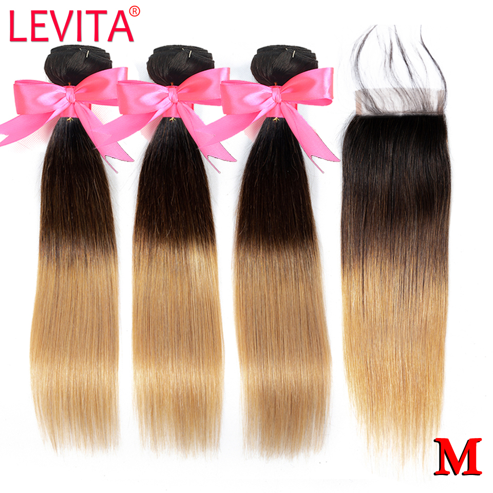 1B/4/27 Honey Blonde Ombre Bundles With Closure Brazilian Straight Human Hair Weave 3 Bundles With Closure Non-Remy LEVITA
