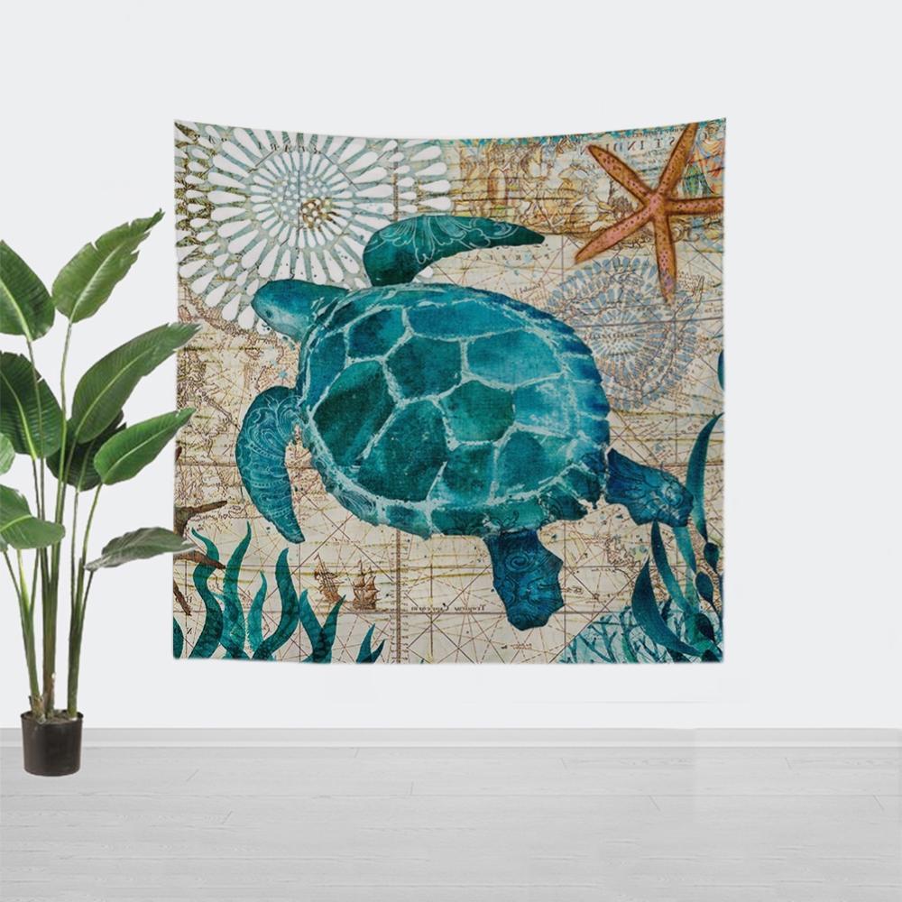 Marine Life Series Mandala Tapestry Wall Hanging Decor Chakra Yoga Carpet Psychedelic Abstract Wall Cloth Elephant Tapestries