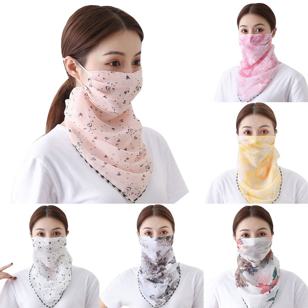 Womens Youth Girls Neck Gaiter Scarf Anti UV Sun Dust Protection Ear Loops Non Slip Breathable Face Mask For Cycling Running Hi
