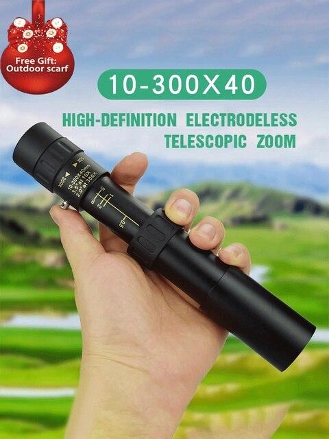 10-300x40mm Monocular Telescope Super Zoom Monocular Quality Eyepiece Portable Binoculars Hunting Lll Night Vision Scope Camping