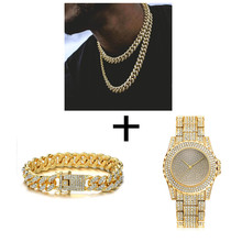 Hip Hop Necklace +Watch+Bracelet Full Iced Out Paved Rhinestones Miami Curb Cuban Chain Gold CZ Bling Rapper For Men Jewelry