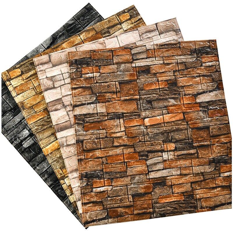 Self-adhesive Wallpaper Industrial Wind 3D Three-dimensional Wall Stickers Retro Cultural Brick Shop Wall Renovation Waterproof