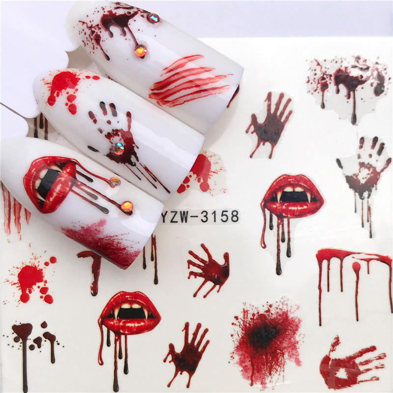 YWK 1 PC Halloween Nail Sticker Water Self Adhesive Nail Art Tattoo Big Lips/palms Decals for DIY Decor Wraps