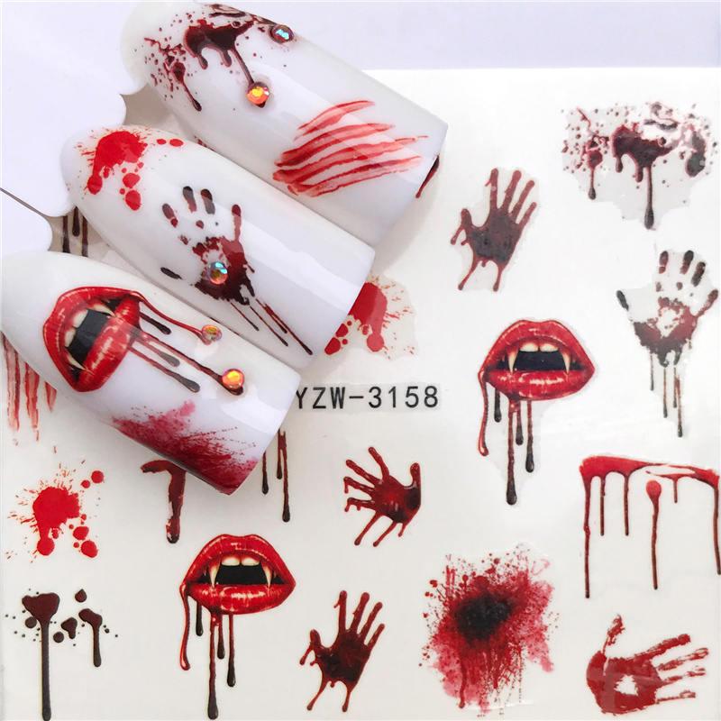 Ywk 1 pc halloween etiqueta do prego água auto adesivo arte do prego tatuagem grandes lábios/palmas decalques para diy decoração envolve