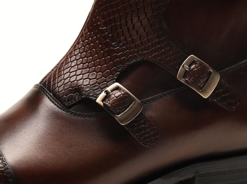 Botas de vestir de cuero genuino para hombres, botas de vestir para hombres, zapatos de hombre británico, con hebilla, botas de trabajo para hombres - 5