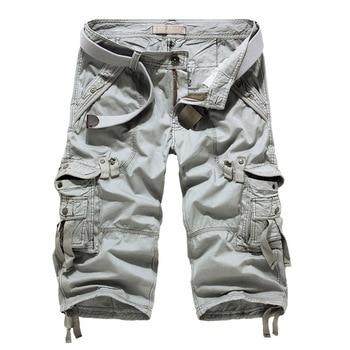 Dropshipping 2021 New Cargo Shorts Men Casual Workout Military Men's Shorts Multi-pocket Calf-length Short Pants Men