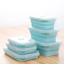 Silicone Folding Bento Box Collapsible Portable Microwavable Lunch Food Dinnerware Foldable Kids Containers Bowl