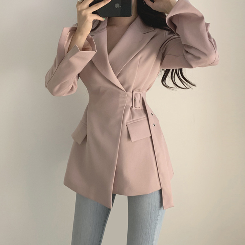 Jacket Women Elegant Spring  Winter 2020 Lady Long Sleeve Slim Belt Waist Coat Office Lady Suit Notched Evening Party Jackets