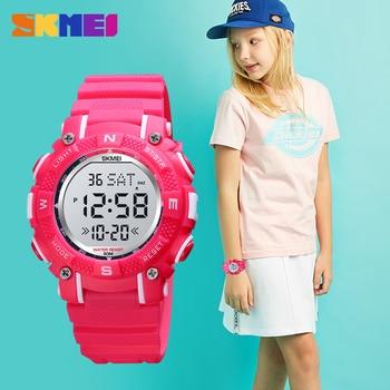 SKMEI Colorful LED Children Watch Kids Watches 2 Time Digital Sport Waterproof Boys Girls Alarm Clock montre enfant 12/24 Hour
