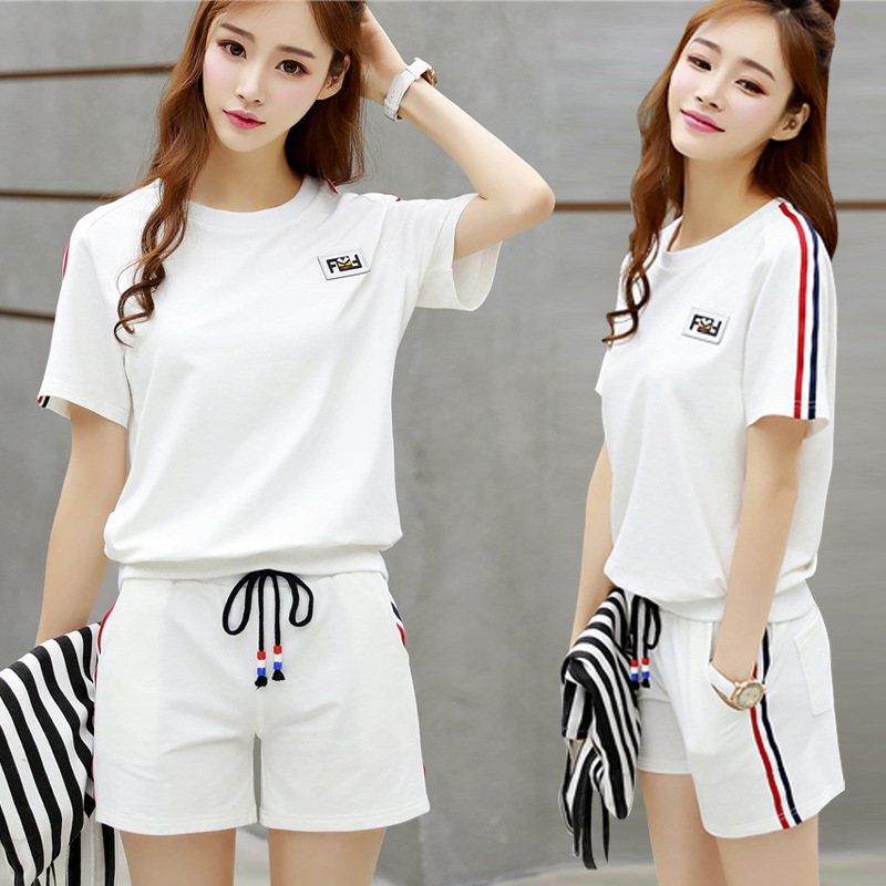 Manufacturers Direct Wholesale Sports Clothing WOMEN'S Suit Summer New Style Korean-style Students GIRL'S Loose Short Sleeve Sho