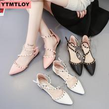 Fashion womens sandals 2019 summer new pointed flat with rivets shoes shallow mouth Roman women