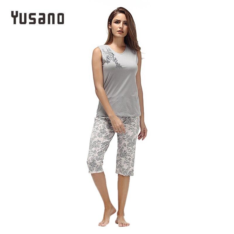 Women's Pajama Set Cotton Pajamas Set Autumn Shorts Sleeveless Pyjamas Floral Pijama For Women Sleepwear Long Nightwear Female