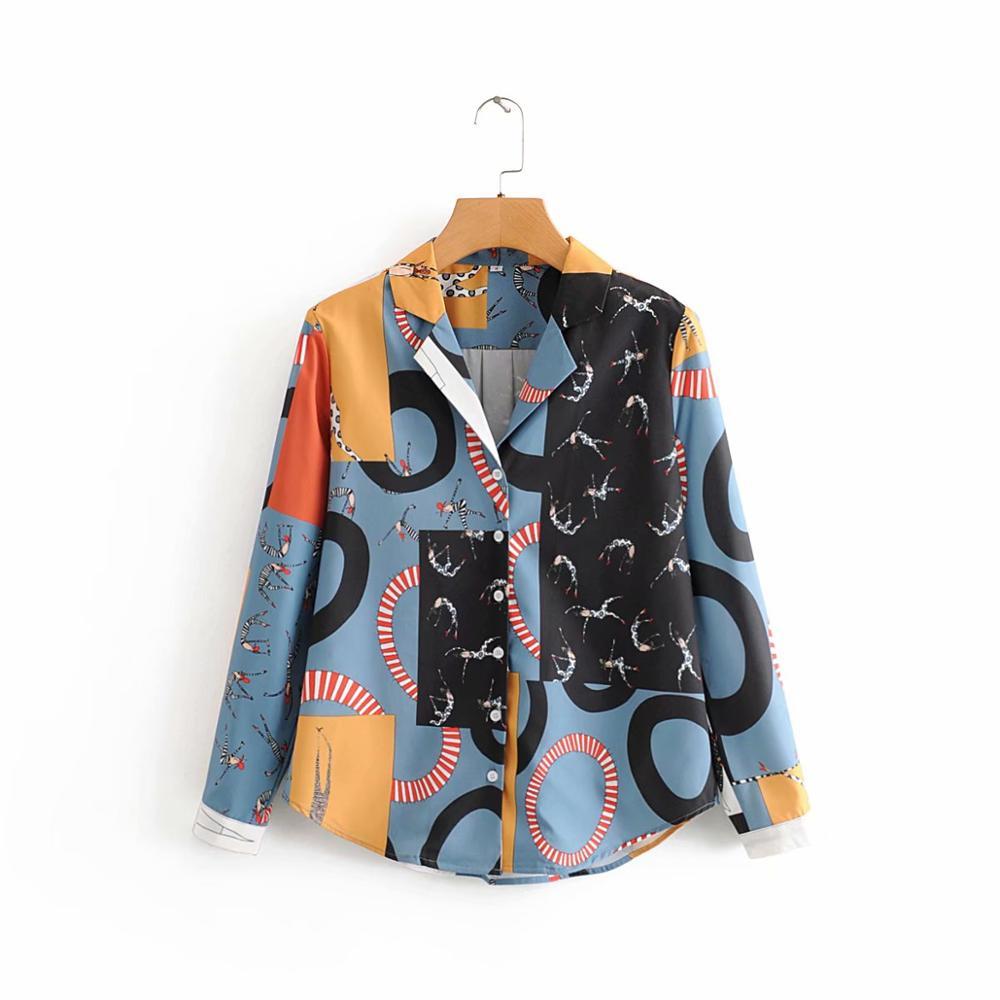 New 2020 Women Vintage Contrast Color Graffiti Print Business Blouse Office Lady Retro Shirts Chic Chemise Femininas Tops LS6136