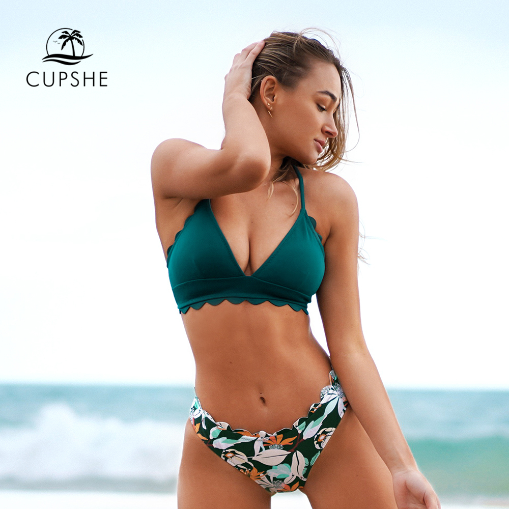 CUPSHE Cute Green Floral Scalloped Bikini Sets Women Sexy Solid Mid waist Two Pieces Swimsuit 2021 Beach Bathing Suits Swimwear