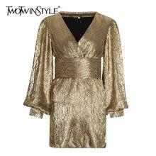 TWOTWINSTYLE Patchworkชุดเลื่อมสำหรับผู้หญิงโคมไฟแขนเสื้อVคอสูงเอวเซ็กซี่Party Dressesหญิงแฟชั่นฤดูใบไม้ร่วง 2020 ใหม่