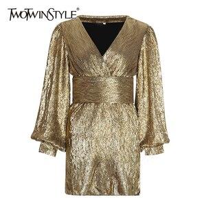Image 1 - TWOTWINSTYLE Patchworkชุดเลื่อมสำหรับผู้หญิงโคมไฟแขนเสื้อVคอสูงเอวเซ็กซี่Party Dressesหญิงแฟชั่นฤดูใบไม้ร่วง 2020 ใหม่