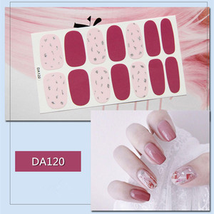 Image 2 - 14tips/sheet Colorful Shinny Full Nail Art Tips DIY Adhesive Wraps Waterproof Nail Stickers Decorations Manicure Drop Shipping