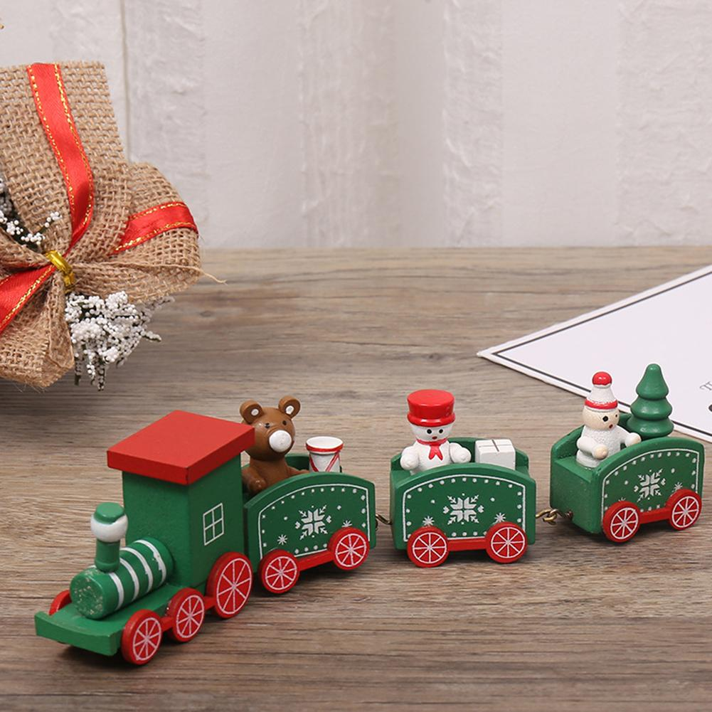 Christmas Wooden Train Model Vehicle Toys for KIDS Xmas Tree Deer Snowman Santa Kids Home Decoration