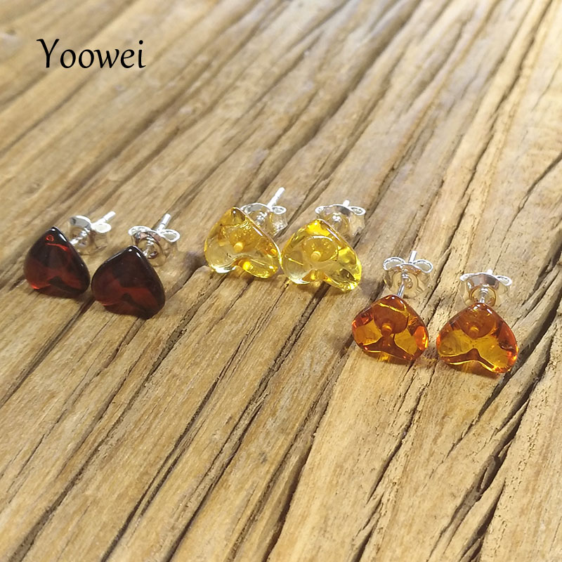 TRENDY NATURAL BALTIC AMBER 925 STERLING SILVER STUD EARRINGS