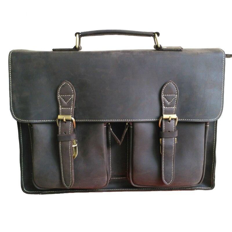 Высококачественный Мужской винтажный кожаный портфель Crazy Horse, портфель через плечо, сумка для ноутбука, сумка для офиса, 1061 - 6