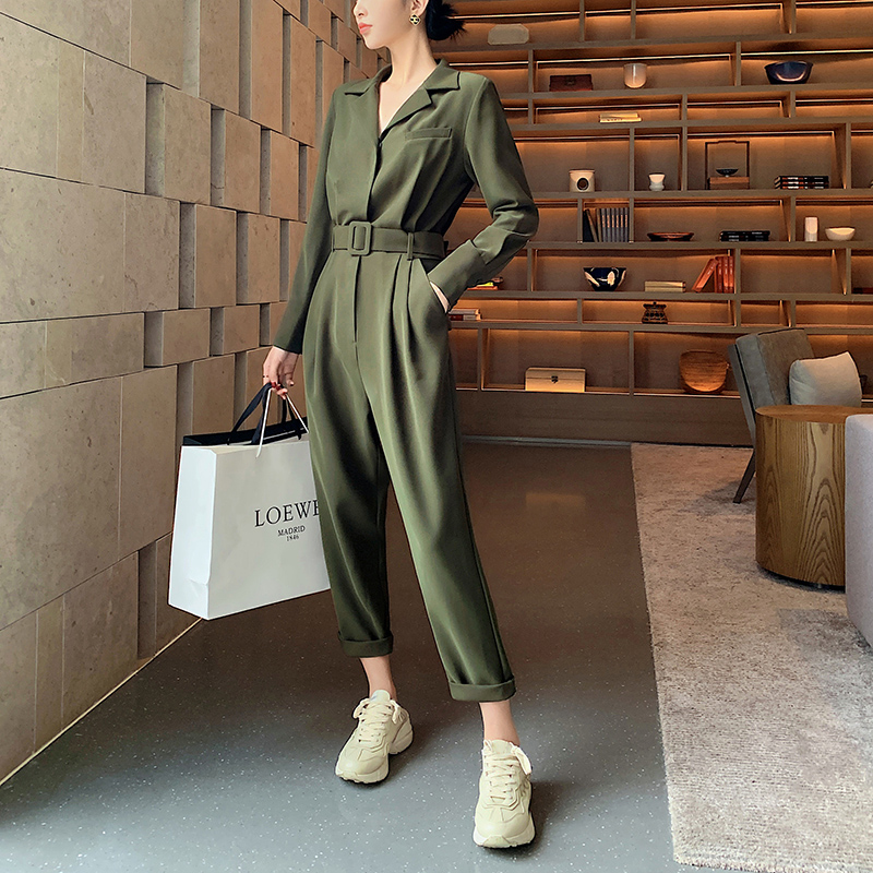 New Fashion Women Sexy Army Green   Jumpsuit   with belt Long Sleeve High Waist Street Wear Jumpsiut Romper Long Trousers