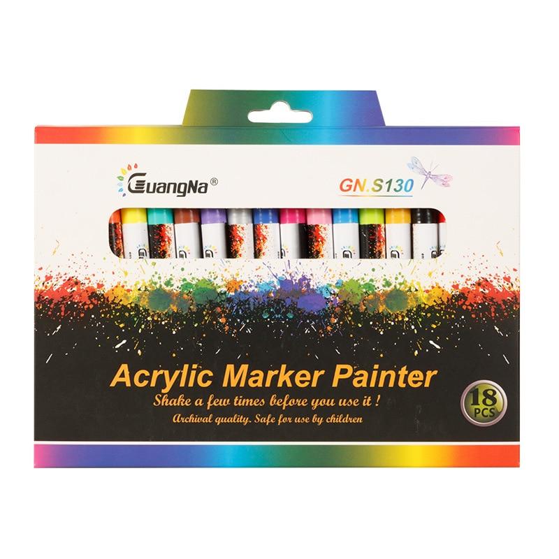 GN 12/18 цветов, 0,7 мм, акриловый фломастер для рисования, художественный маркер, ручка для керамики, искусственный фарфор, кружка, дерево, ткань,...