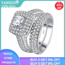 Yanhui Originele Luxe Big Wedding Rings Set Voor Bridal Vrouwen Engagement Finger Ring Christmas Gift Sieraden(China)