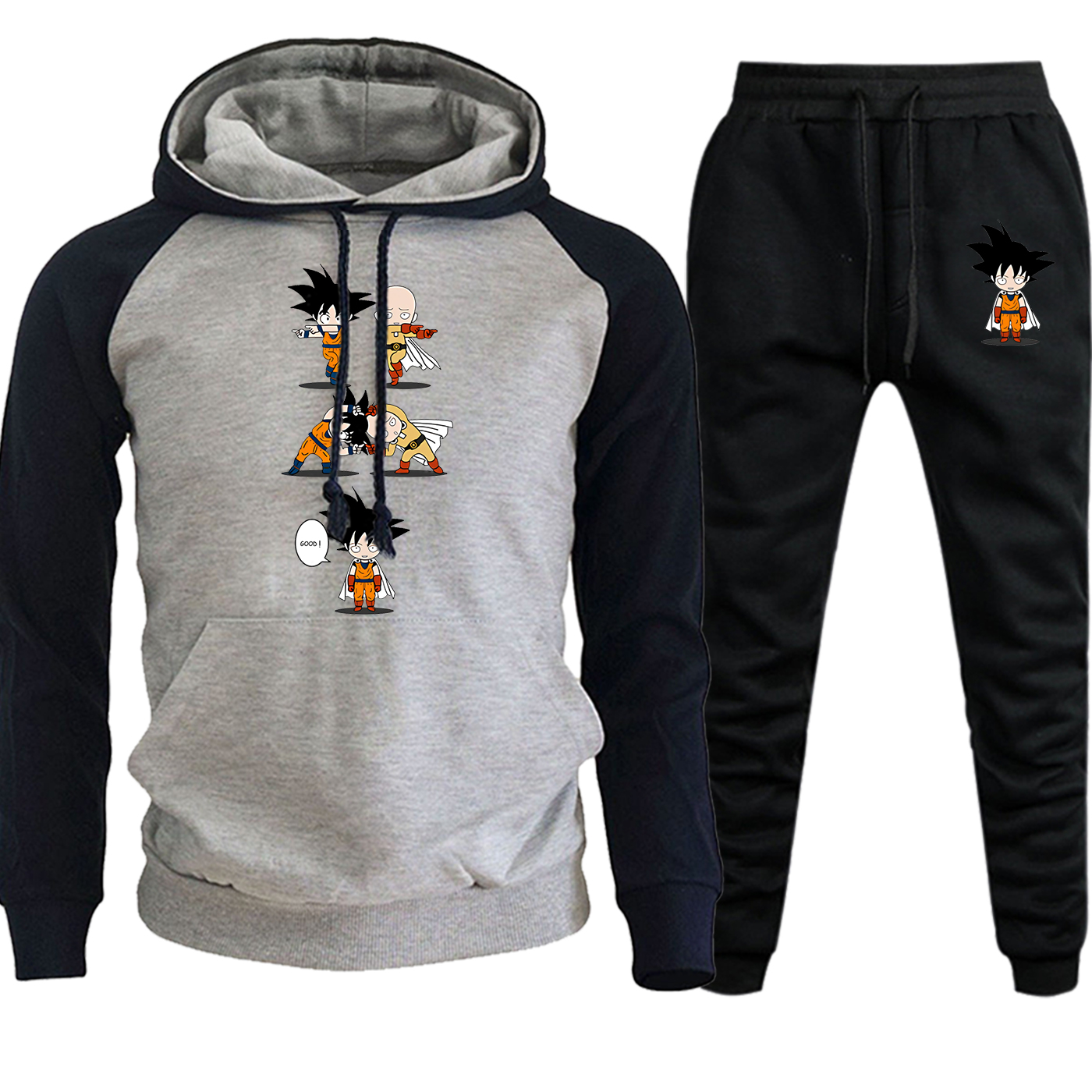 One Punch Man Dragon Ball Autumn Winter Fashion Hoodies Mens Streetwear Raglan Suit Pullover Fleece Hooded+Pants 2 Piece Set