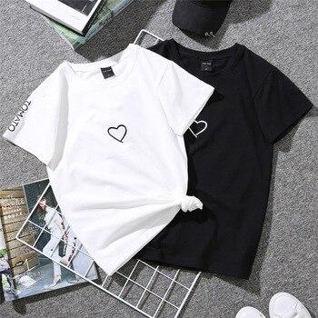 2020 Couples Lovers T-Shirt for Women Casual White Tops Tshirt Women T Shirt Love Heart Embroidery Print T-Shirt 1