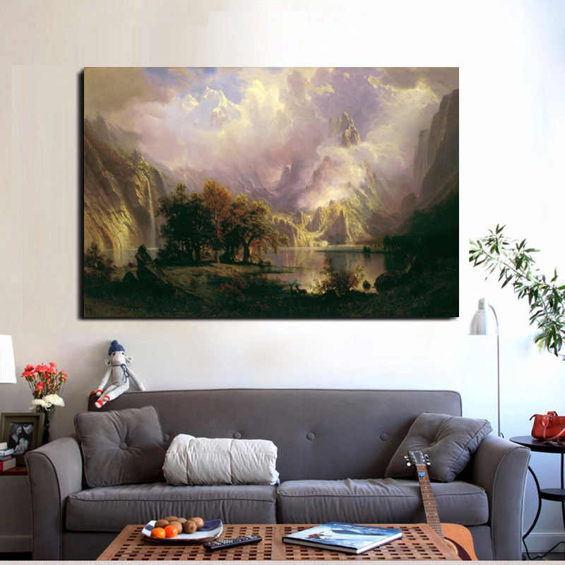 Oil Painting Landscape Poster Albert Bierstadt Spear Fishing Art Canvas Painting Wall Pictures for Living Room Quadro Home Decor
