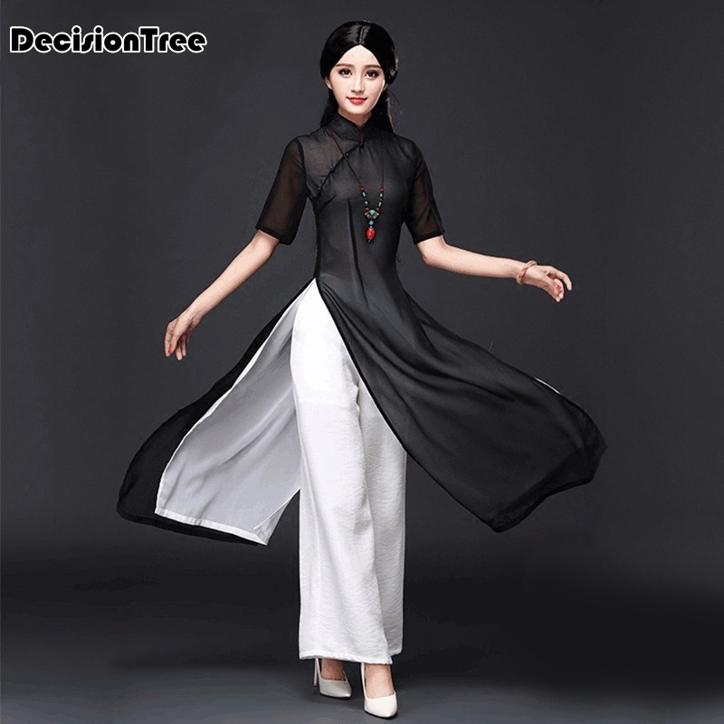 2020 Vietnam Aodai Chinese Traditional Dress Chinese Dress Qipao Long Chinese Cheongsam Dress Chinoise Modern Cheongsam