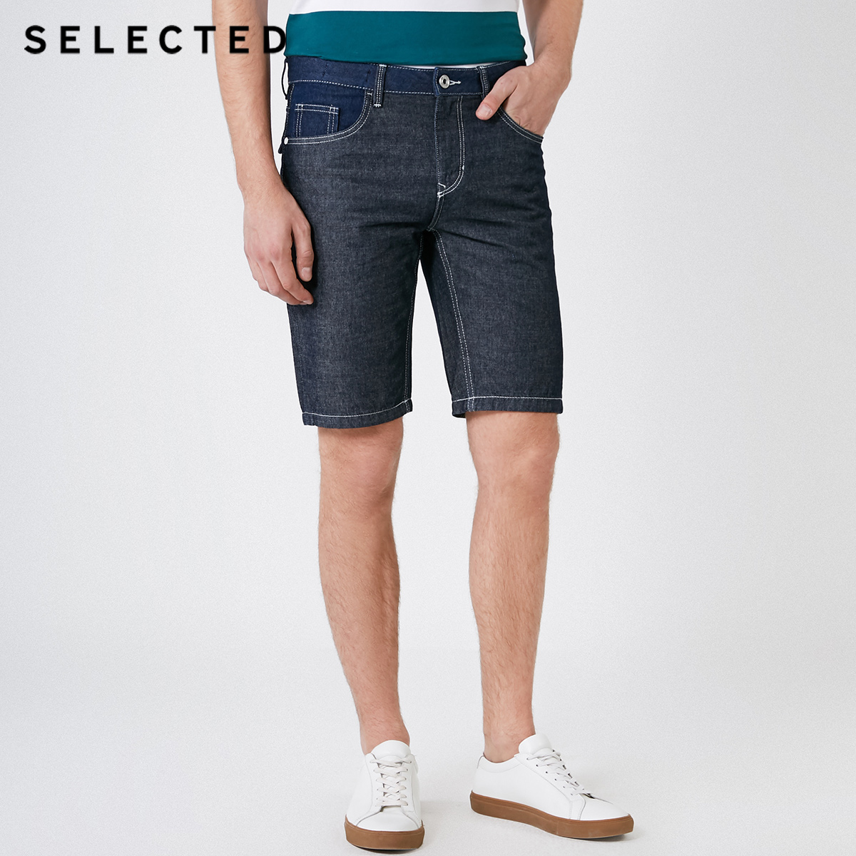 SELECTED Men's Summer Straight Fit Denim Shorts C|4192S3504