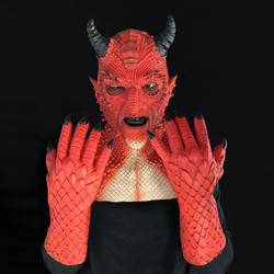 Carnival Natural Latex Cosplay Gloves Evil Scary Demon Halloween Costume Gloves Red Christmas EXH The Lord of Lies Belial Gloves Waterproof Scary Evil Gloves for Halloween Dress Up Party