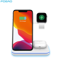 FDGAO 15W Qi Wireless Charger Stand For Apple Watch 5 4 3 2 Airpods Pro iPhone 11 XS XR 3 in 1 Fast Charging for Samsung S20 S10
