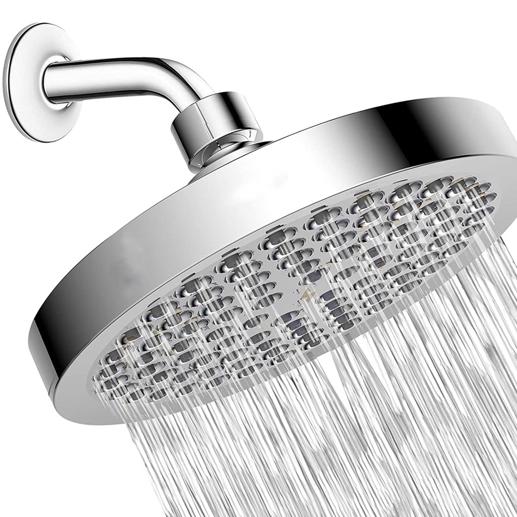 6 Inch Shower Head High-Pressure Round Bathroom Wall Mounted Shower Spray with Self-cleaning Nozzles