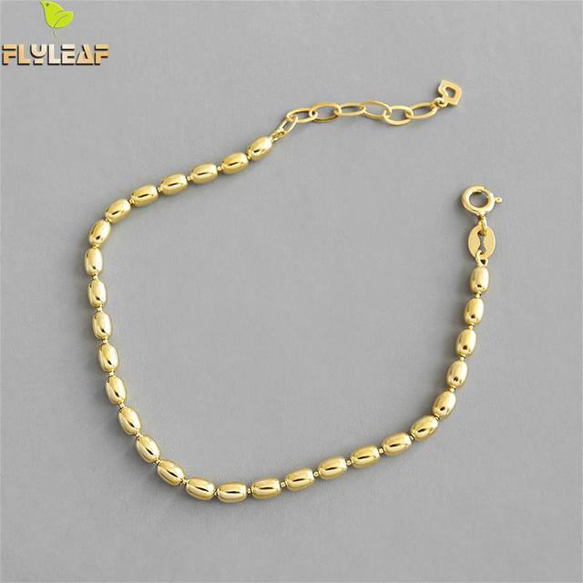 Flyleaf Simple or perles ovales perles réel 925 argent Sterling Bracelets pour femme mode Fine bijoux Bracelets et Bracelets