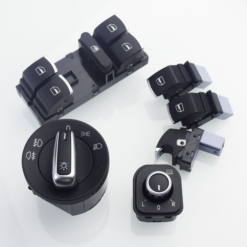 Chrome European Headlight Switch For <font><b>VW</b></font> <font><b>Golf</b></font> <font><b>5</b></font> 6 <font><b>GTI</b></font> Mk5 Mk6 Jetta <font><b>5</b></font> 6 Passat B6 Touran Tiguan SEAT ALHAMBRA OEM 5ND 941 431 A image
