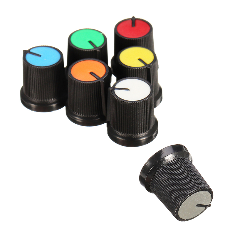 10Pcs Red/Blue/Orange/Grey/Green/White/Yellow Plastic For Rotary Taper Potentiometer Hole 6mm Knob Accessory Kit